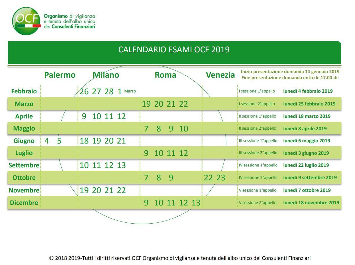 Calendario esami OCF 2019